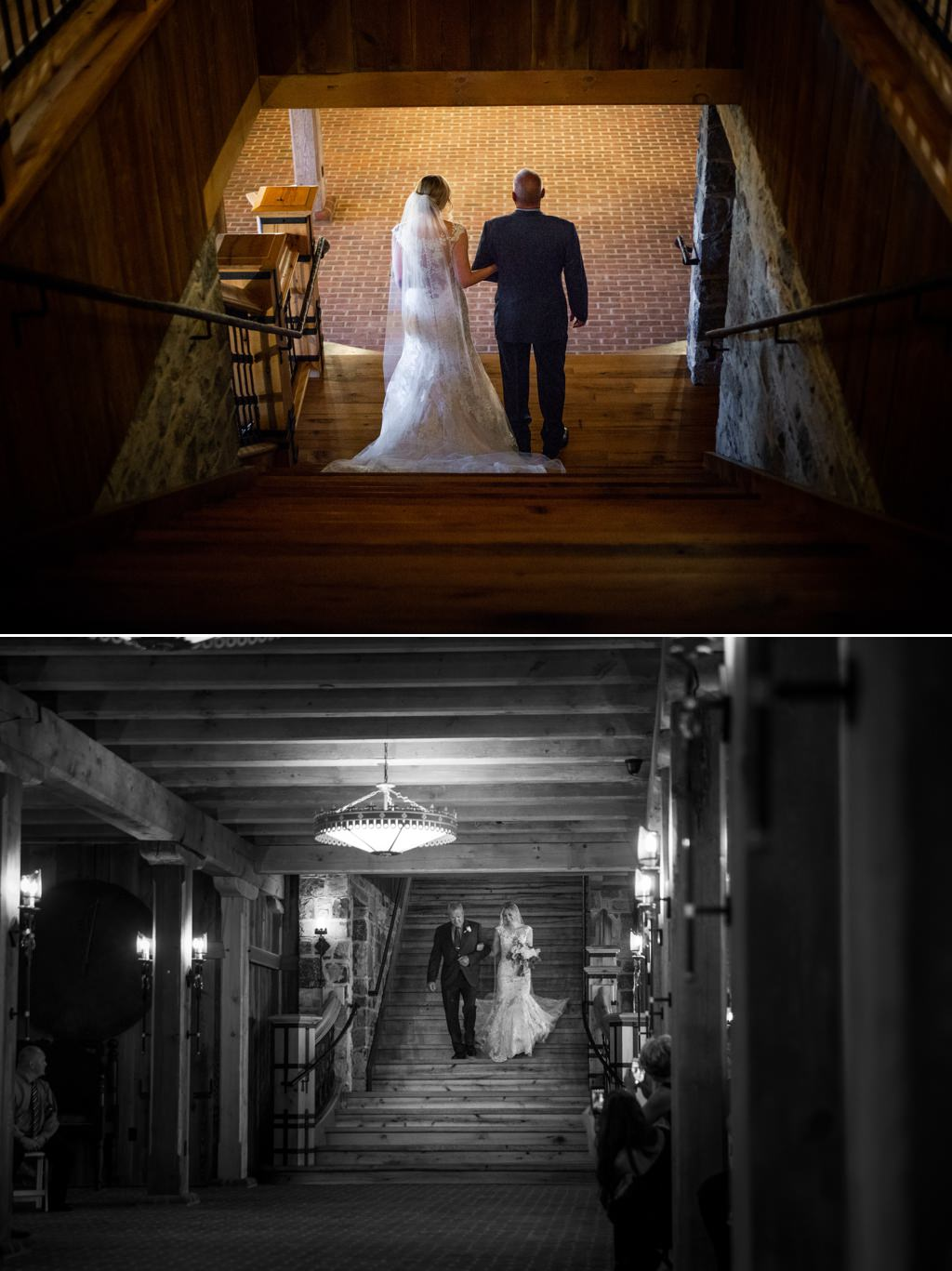 bride-walking-down-grand-staircase-at-the-star-barn-wedding